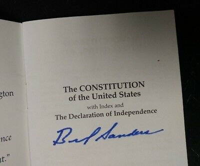 Bernie Sanders - Autographed Constitution of the United States Pocket Book RARE!