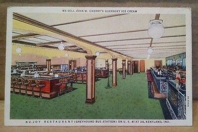 POSTCARD NU JOY RESTAURANT BUS STATION KENTLAND INDIANA JOHN CHERRY's ICE CREAM