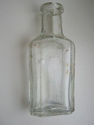Vintage antique small clear glass flat bottle