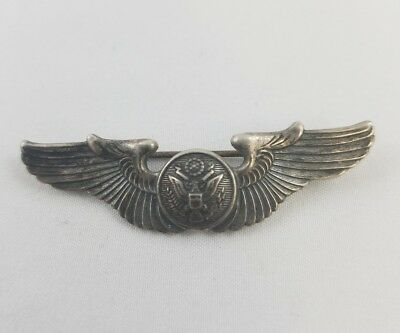 WW2 WWII US U.S. Sterling AAF Pilot Wings,Aviator,Army,Air,Force,Pin,Silver,War