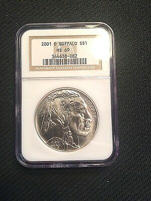 2001 Buffalo Ngc Ms69 Silver Commemorative