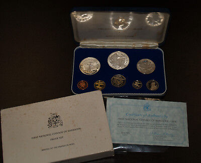 1973 First National Coinage of Barbados Proof Set w/Silver & COAs