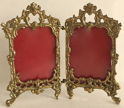 ANTIQUE French Rococo Style Ornate Gold Color Brass Hinged Double Picture Frame