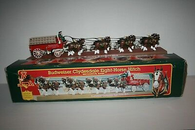 NICE Vintage 1995 Budweiser Clydesdale Eight-Horse Hitch Mechanical Bank