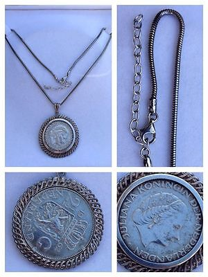 Necklace 925 Silver with 835 Silver Coin Pendant Nederland 1962 Silver Jewellery