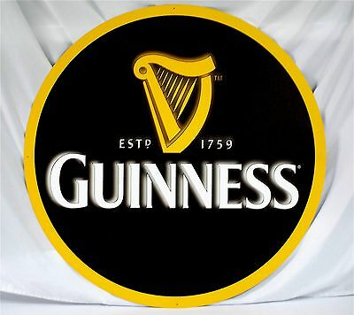"Guinness Harp 36"" Diameter Metal Sign"