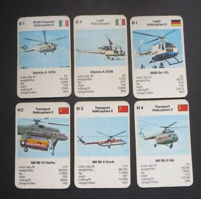 """VINTAGE LOT OF CARDS  """"WORLD HELICOPTERS"""" 1970's to 80's."""
