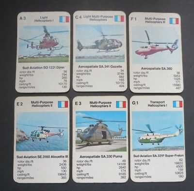 """VINTAGE LOT OF CARDS  """"FRANCE HELICOPTERS"""" 1970's to 80's."""
