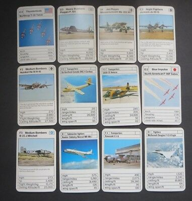 """VINTAGE LOT OF CARDS  """"MILITARY AIRCRAFT"""" 1970's to 80's. #2"""