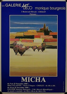 Affiche MICHA 1989 Exposition Galerie Bourgeois