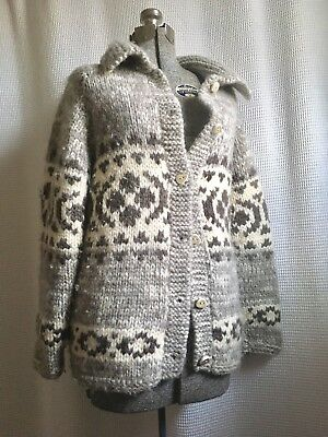 Wool Cowichan Sweater Lebowski Cardigan Hand Knit Vintage BC Womens Small