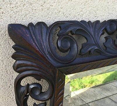 Antique French Carved Mirror 19th Century With Bevelled Glass