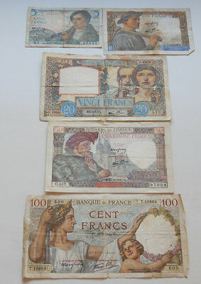 Set of Five French Franc Banknotes 1940 - 1943