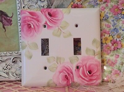 Cottage Shabby Chic White Double Lightswitch Plate ~Hand Painted Pink Roses!~ HP