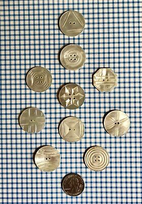 Lot of 10 Large Antique Carved RARE MOP Mother of Pearl Buttons-All Different