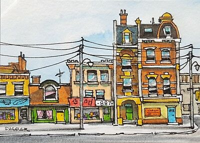"Street Scene, ACEO 2.5""x3.5"" Original Watercolor Peter Sheeler, Town buildings"