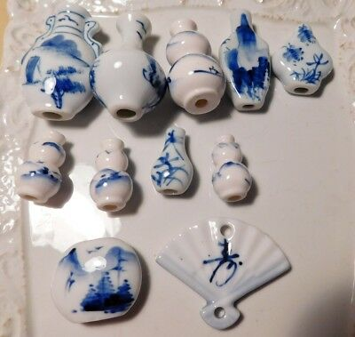 Lot of 11 Vintage Chinese Blue + White Porcelain Vase + Fan Beads