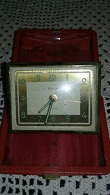 VINTAGE Time Master Luminous TRAVEL ALARM CLOCK/Germany/Red Leather Case. Works