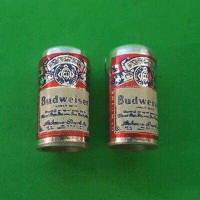 Vintage BUDWEISER BEER CAN CHARMS set of 2 gumball vending prize - FREE SHIPPING