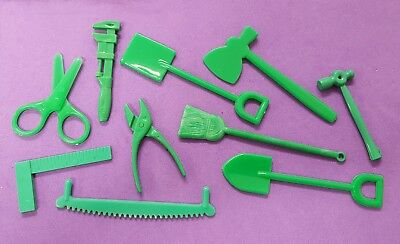 Vintage miniature green plastic TOOLS -  Cracker Jack hammer scissors saw wrench