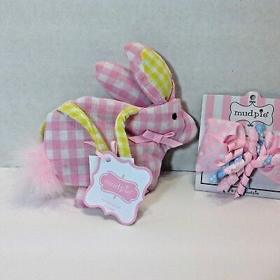 Mud Pie BUNNY CHICK PURSE & HAIR BOW Baby Girls Pink Gingham NWT SET