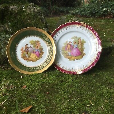 Pair of vintage Limoges France 'La Reine' porcelain plates