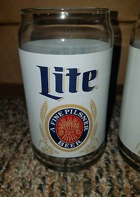 Miller Lite Beer 4 Glasses Heritage Can Replica Retro Rare Glass Set New Style