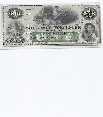1862 $1 Obsolete Bank-Note ✪ Somerset & Worcester Bank ✪ Savings Md 65◢Trusted◣