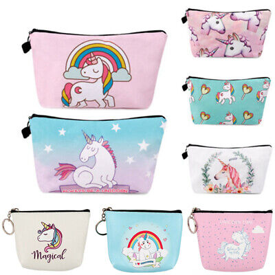 Unicorn Make Up Bags Cosmetic 3D Printed Travel Girls ladies Makeup Organizer