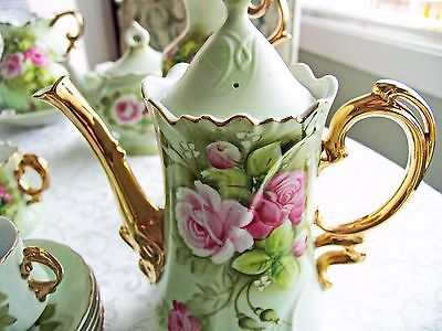 Large Lot Vintage NEW Lefton Heritage Green China - Pink Roses, 53 Pieces