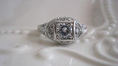 Vtg Estate Antique Art Deco Engagement Ring Absolute CZ Sz 6 Victorian