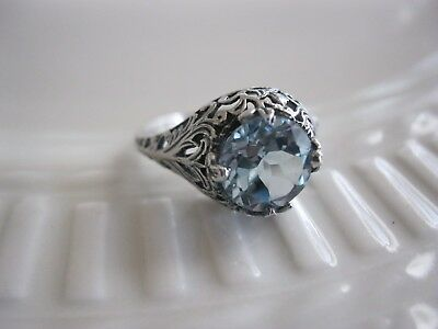 Vtg Estate Antique Art Deco Engagement Ring 2c French Blue Aquamarine Victorian