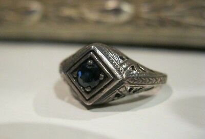 Vtg Estate Antique Art Deco Engagement Ring Sapphire Engagement Victorian Gothic