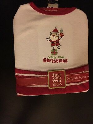 Carter's Baby's First Christmas Bodysuit Pant set Set  6 - 9 months NEW