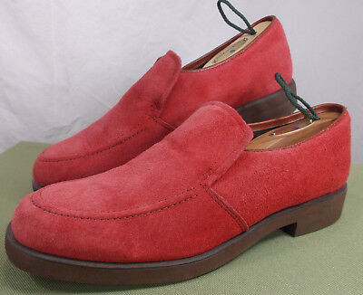 HUSH PUPPIES Red Suede Shoes Leather Vintage Loafers Slip On Women's 9 M USA