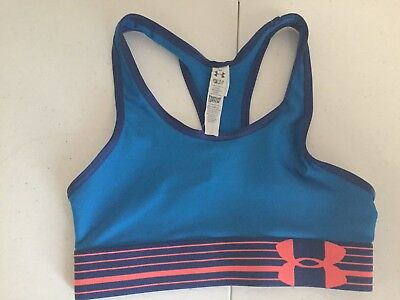 Under Armour  Girls Sports Bra Size YSM Heatgear Blue/Pink