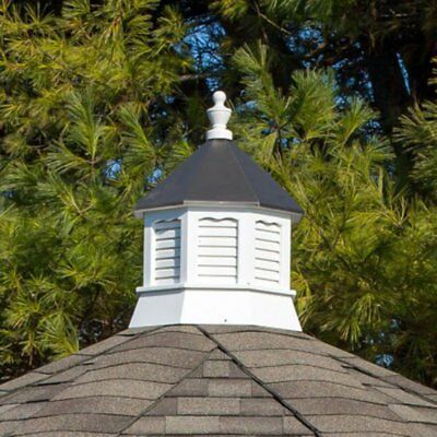 Yardcraft Products LLC Octagon Vinyl Cupola with Bronze Metal Roof, White