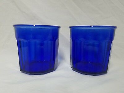 Set Of 2 Cobalt Blue Tall Glass Panel Tumblers ~Made In France~