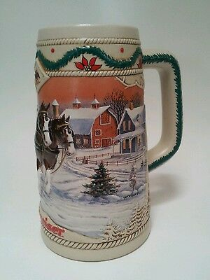 Vintage Budweiser Holiday Stein 1996 American Homestead Collectible Barware
