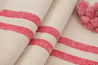 Red stripes patched grain sack Fabric Antique linen Grain Sack