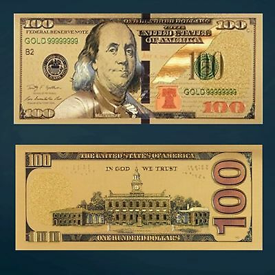 24K Gold Foil $100 Dollars Paper Money Banknote with Currency Sleeve