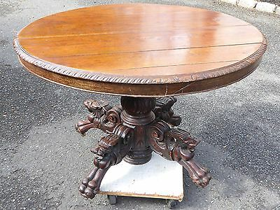 """Gothic Solid Oak 45""""x40""""x29"""" Table Lion Heads & Claw Feet Over 200 Years Old"""