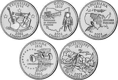 2002 US State Quarters Five Uncirculated Straight from mint US Mint