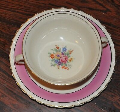6 - Antique Myott Son & Co 2 Handled Cup And Matching Dish, Pink & Gold