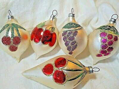 "5 Glitter Mercury Glass Christmas Ornaments 4"" Hand Blown Fruit Vtg Teardrop"