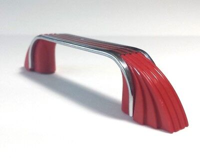 "Single Art Deco MCM Vintage Red Plastic Grooved Chromed Drawer Pull Handle (3"")"