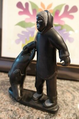 Spectular Isaac Sala Successful Hunter & Ringed Seal  Inuit Art Carving