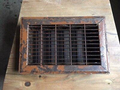 FURNACE REGISTER HEAT FLOOR GRATE  6 x 10 OPENING VINTAGE IRON COVER #2