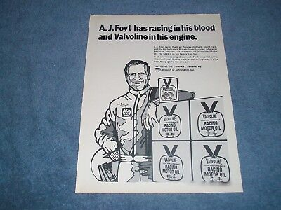 "1971 Valvoline Racing Oil Vintage A.J. Foyt Ad ""...Racing in His Blood...."""