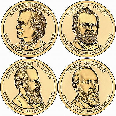 2011 (17th to 20th) US President - Four $1's Uncirculated Coin